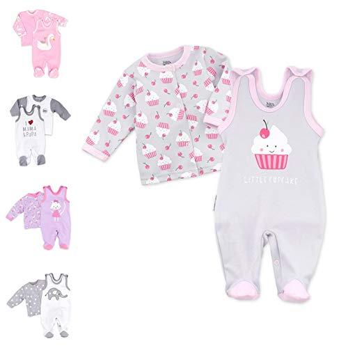 Baby Sweets 2er Strampler Set & Shirt für Mädchen und Jungen Verschiedene Größen, Rosa Grau - Little Cupcake, 1 Monat (56)