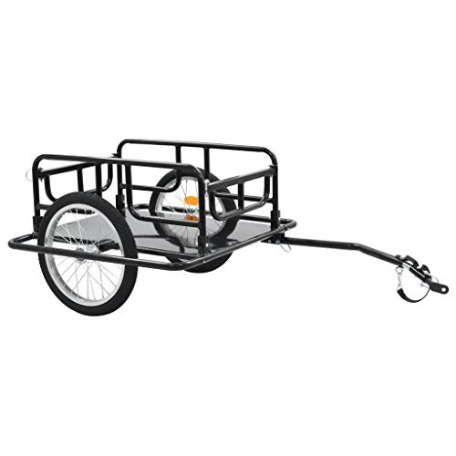 Best Price CFG Bicycle Cargo Trailers, Bike Cargo Trailer 51.2x28.7x19.7 Steel Black