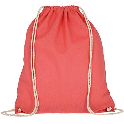 MyShirt Baumwoll Turnbeutel 38 x 46cm unbedruckt mit Kordelzug - 19 Farben - Jutebeutel Oeko-TEX® geprüft Gym Sack zum bemalen, Farbe:lachs