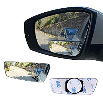 LivTee Blind Spot Mirror Rectangular Shaped HD Glass Frameless Convex Rear View Mirror with wide angle Adjustable Stick for Cars SUV and Trucks Pack of 2