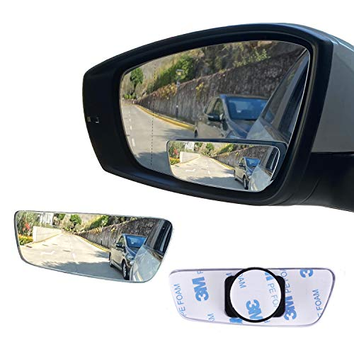 LivTee Blind Spot Mirror, Rectangular Shaped HD Glass Frameless Convex Rear View Mirror with wide angle Adjustable Stick for Cars SUV and Trucks, Pack of 2