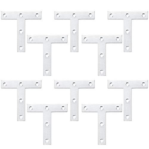 T-förmige Winkel Klammern, Winkelverbinder Halterungen, Winkelhalterungen Edelstahl, Flachwinkel Möbel, flache Befestigungsplatten für Schrank Tisch Stuhl (10 Stück, 80 x 80 x 1,5 mm)