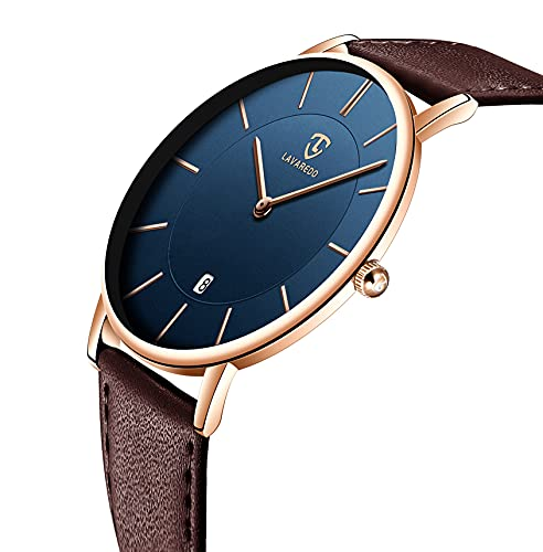 Watch, Mens Watch, Minimalist Fashion Simple Wrist Watch Analog Date with Leather Strap Brown Blue