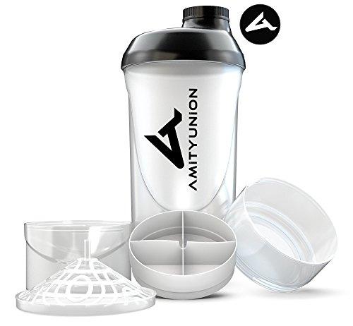 Deluxe Shaker 700ml - Premium Eiweiß Shaker auslaufsicher - BPA frei mit Sieb, Skala für Protien Pulver, Fitness Becher für Isolate, Sport Konzentrate mit 2 Containern in Schwarz Weiß Cup