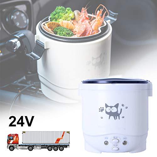 ZLMFBMStomsHan 12V/24V Auto Reiskocher Dampfgarer,1L 100W Tragbar multifunktional Reiskocher, Antihaft-Pfanne für 2-3 Personen,Car Kitchen Food Heater zum Kochen und Warmhalten,White-24V