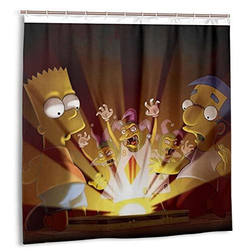 Simpsons Bart Homer J. Duschvorhang Badezimmer Dekor Exquisite Wasserdicht Duschvorhang 183 x 183 cm mit 12 Kunststoffhaken