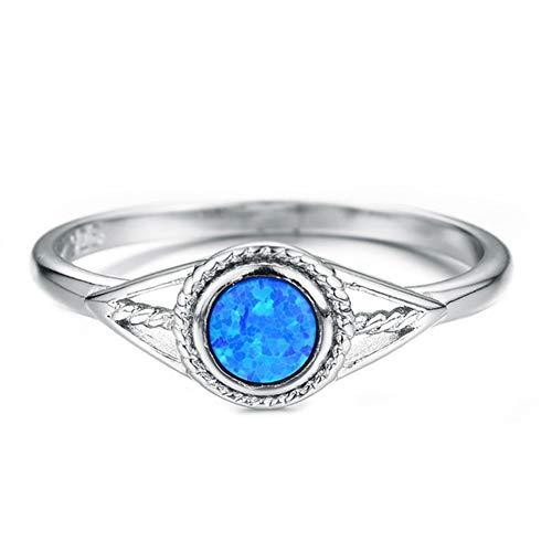 Anillos de ópalo de fuego azul de Color plateado para mujer, anillo de bodas de ojo malvado arcoíris con piedra de nacimiento redonda