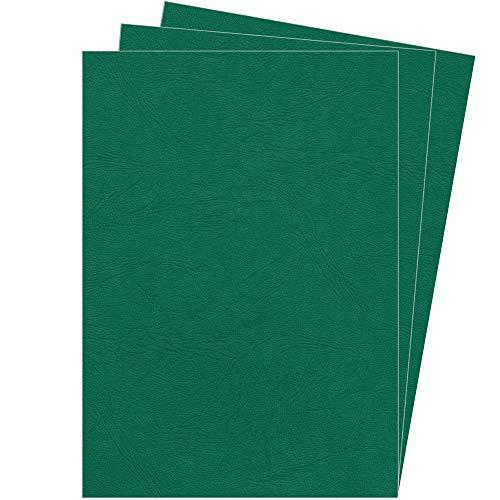 Fellowes Portadas para encuadernar de cartón símil piel Delta Cuero, extra rígido, 250 micras, 100% reciclables, formato A4, con certificación FSC, pack de 100, color verde