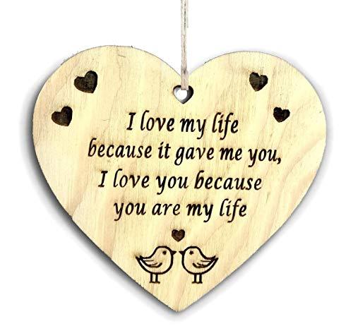 Pet-Jos Placa colgante de madera con forma de corazón para regalo para Yor Him para ella, regalo de San Valentín, con cita de amor