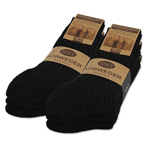 6 Paar Norweger Socken mit Wolle Damen & Herren Wintersocken (Schwarz 43-46)
