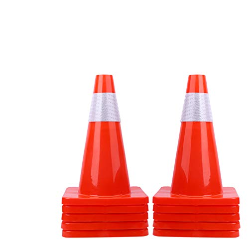 "[ 10 Pack ] 18"" Traffic Cones PVC Safety Road Parking Cones Weighted Hazard Cones Construction Cones for Traffic Fluorescent Orange w/4"" Reflective Strips Collar Traffic Safety Cones"