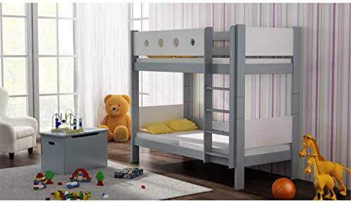 Risal LOONA Hochwertige Etagenbett Hochbett Massivholz mit Lattenroste mit Rausfallschutz Kinderbett Stockbett 80x180 (Weiß-Grau)