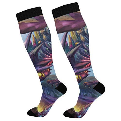 PUXUQU Socken Strümpfe Drachen Planet Herren Damen Kniestrümpfe Socken 2 Pack