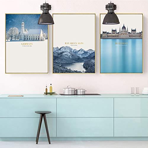 XinMeiMaoYi wandbild Europäische Landschaft Triptychon Dekorative Malerei Gold Bilderrahmen Warme Wandmalerei Wandbild 30 * 40 cm HD Micro Spray Einfache Moderne Wohnzimmer Sofa Hotel