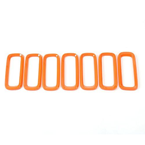 RT-TCZ Orange ABS Front Grill Grille Inserts for 2015-2017 Jeep Renegade Unlimited (Pack of 7)