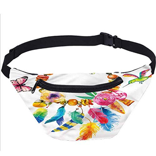 Colorful Fanny Pack Bag,Bohemian Vibrant Necklace Running Travel Sports Bags for Festival Rave