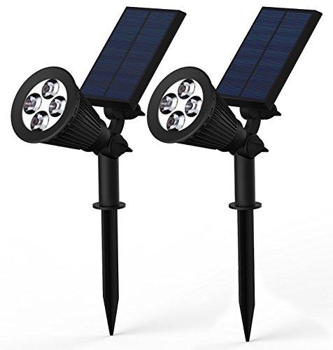[2 unidades] Lámpara LED Solar para Exteriores YOKKAO, Foco con Luz LED con Sensor de Movimiento y sensor Dia/Noche 4 LED 200 Lumenes Luz Ajustable Bateria Recargable con Panel Solar a Prueba de Agua Luz de Seguridad para el Patio/Jardin/ Camino [2 lámparas]