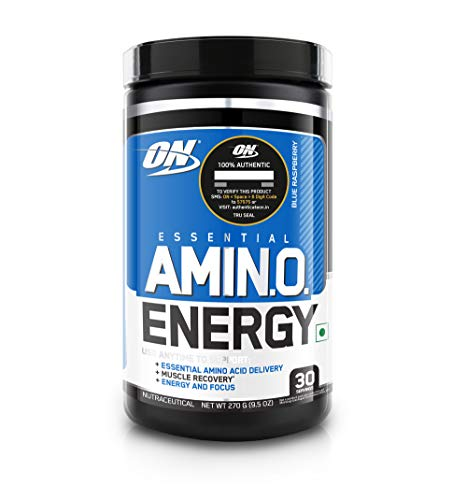 Optimum Nutrition (ON) Amino Energy - Pre Workout with Green Tea Extract, BCAA, Amino Acids, Green Coffee Extract, Energy Powder - Blue Raspberry, 30 Servings