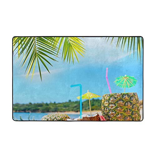 Bath Rugs,Bath Mat,Coconut and Pineapple Drinks at Exotic Beach Palm 29.5X17.5in