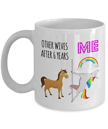 6th 6 Year Wedding Anniversary Gifts For Wife Husband Partner Lover Lesbian Gay Women Her Sexy Love Pole Dancing Unicorn Mug Coffee Cup