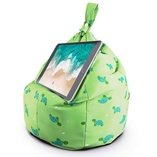 Planet Buddies Tablet & iPad Stand, Cushion Tablet Holder, Ideal for iPad, Samsung, Huawei or any Tablet Up to 12.9 inches, Two Pockets for Storage, Ergonomic Design - Green Turtle