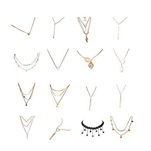 16 PCS Multiple DIY Layered Choker Necklace for Women with Coin Moon Star Multilayer Choker Chain Y Necklaces Set Adjustable Gold Silver Bar Pendant Y Necklace for Teens Girls Women Silver&Gold