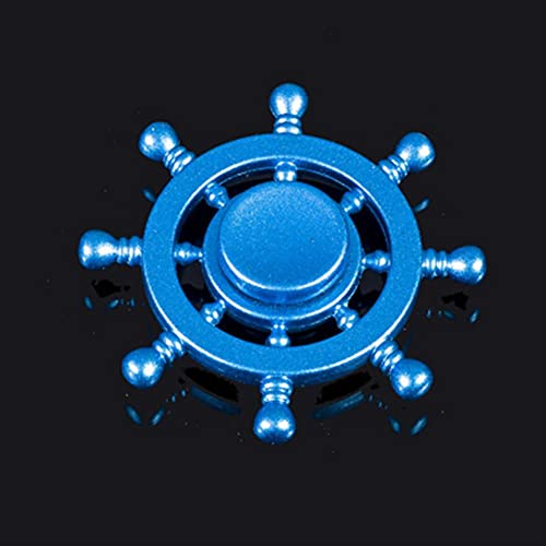 UKKD Descomprime el Juguete 2P / Americano Capitán Fingerip Gyro Shield Aleación Gyro Spinner Discompression Toy Fidget Spinner Hobbies para Adultos-Blue