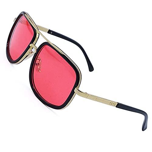 SHEEN KELLY Gafas de sol piloto retro de gran tamaño cuadrado marco de metal oro para hombres mujeres degradados lentes