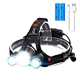 Headlamp,6000 Lumens Super Brightest Rechargeable headlamp,4 Modes Head Lamps Outdoor LED,18650 USB Adjustable Zoomable Headlamps for Adults,IPX5 Head Lamp for Running Camping Fishing Hiking Biking