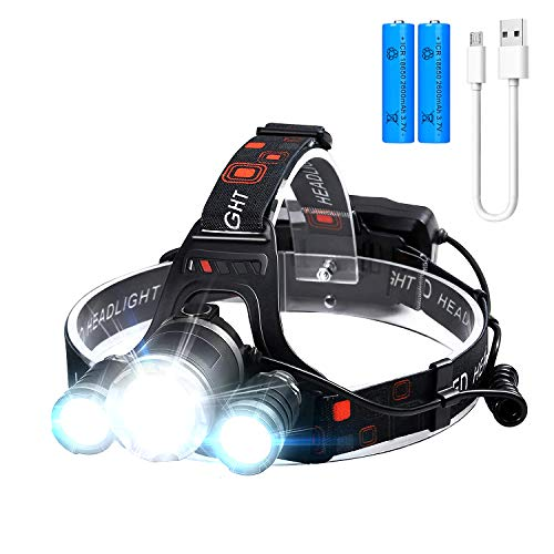 Headlamp6000 Lumens Super Brightest Rechargeable headlamp4 Modes Head Lamps Outdoor LED18650 USB Adjustable Zoomable Headlamps for AdultsIPX5 Head Lamp for Running Camping Fishing Hiking Biking