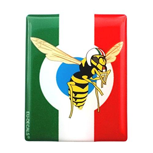3D-Aufkleber für die Vorderseite (Horncasting) Abzeichen Ihres Vespa, italienische Flagge mit dem Mio Vespa-Logo in blauer Zielscheibe für verschiedene Vespa-Modelle von MioVespa.