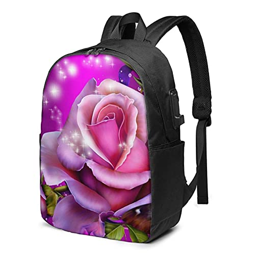 XCNGG Laptop Backpack,17 Inch Travel Lightweight Backpack with USB Charging Port Rose and Butterflies Pink