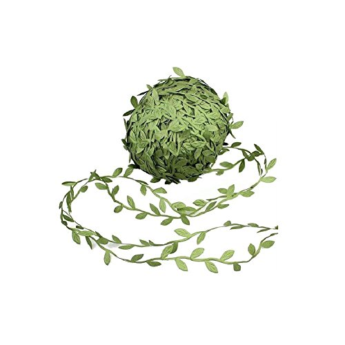 David accessories Olive Green Leaves Leaf Trim Ribbon -20 Yards - for DIY Craft Party Wedding Home Decoration (Olive Green)