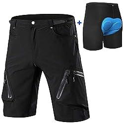Cycorld MTB Hose Herren Radhose, Schnelltrocknend Mountainbike Hose Fahrradhose mit 4D Sitzpolster, Elastische Outdoor Sport Herren Radlerhose MTB Bike Shorts (Schwarz mit Unterwäsch, XL)