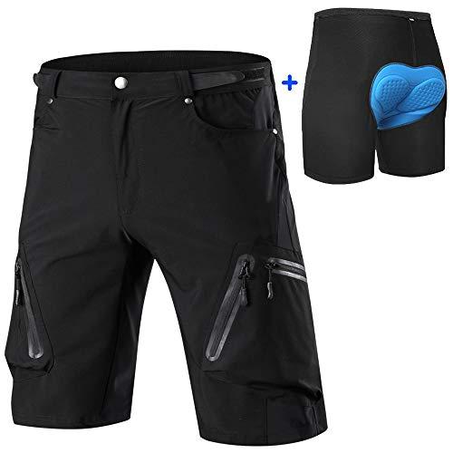 Cycorld MTB Hose Herren Radhose, Schnelltrocknend Mountainbike Hose Fahrradhose mit 4D Sitzpolster, Elastische Outdoor Sport Herren Radlerhose MTB Bike Shorts (Schwarz, L)
