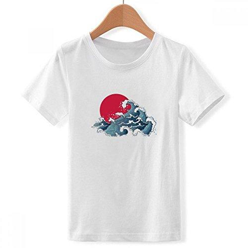 DIYthinker Japón Sol mar Acuarela de Cuello Redondo Camiseta para Chico XXX-Grande
