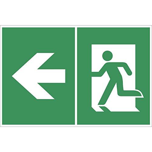 Rettungsschild Symbol: Pfeil/Notausgang links | 250x150 mm | grün/weiß | 1 Stück