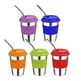 Chidi Toy Edelstahlbecher mit Silikondeckel und Strohhalmen, 350ml/12oz BPA-frei Trinkbecher Trinkgläser Edelstahl-Tassen für Kleinkinder, Kinder und Erwachsene, 5 Stück