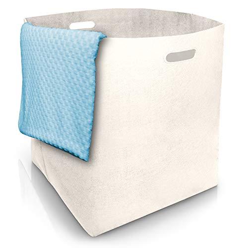 Wäschekorb groß XXL mit 125L Volumen Hochwertiger Designer Wäschesammler aus Filz - Wäschekorb mit Griffen - Aufbewahrungskorb - Wäschekorb Faltbar - Wäschetonne - Wäschesack Weiß/Creme