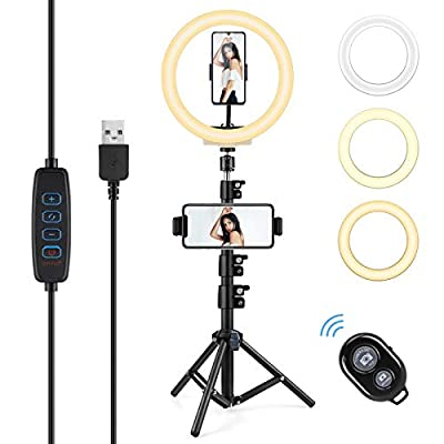 """AGPTEK 10"""" Selfie Ring Light with 54""""Tripod Stand & 2 Phone Holders, Dimmable LED Camera Ring Light Supports 3 Modes, 10 Brightness & Bluetooth Remote for Live Stream, YouTube Video, Self-Portrait from AGPTEK"""