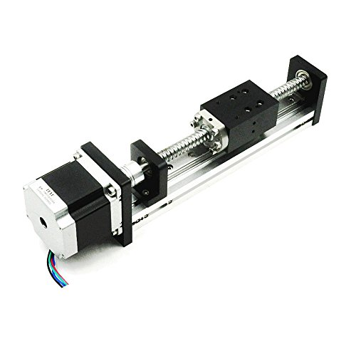 FUYU FLS40 Linear Guide Slide Table Ball Screw Motion Rail CNC Linear Guide Stage Actuator Motorized Nema 23 Stepper Motor[100mm Stroke]