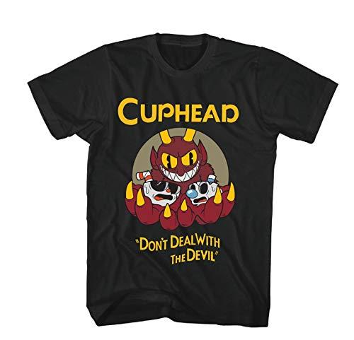 Cuphead Mens and Mugman Shirt Video Game Tee (Black, Medium)