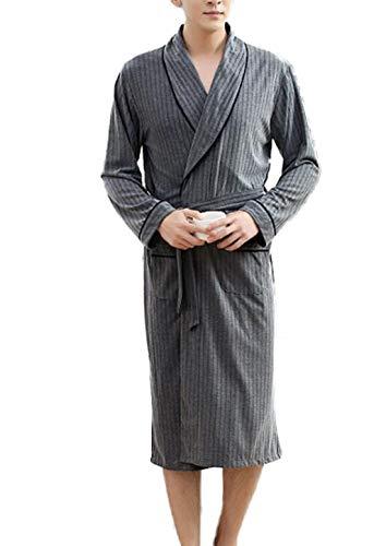 Llpeng Männer Dressing Gown langärmelige Thin Section Mode Stripes Bademäntel...