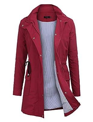 FISOUL Windbreaker Raincoats Waterproof Lightweight Rain Jacket Outdoor Hooded Women's Trench Coats S-XXL