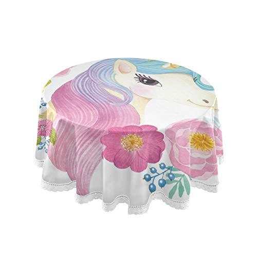 Bardic FELIZM Mantel redondo con cabeza de unicornio y corona de flores, mantel de mesa de comedor de 152 x 152 cm para decoración de fiestas en el hogar, fiesta, cocina, vacaciones