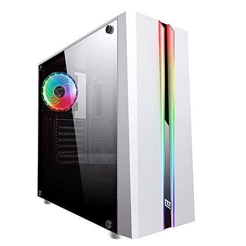 Noua Noob X1 Blanc Boitier PC Gamer Noir ATX 1 Ventilateur RGB RAINBOW 120 mm 2 Bandes de led RGB RAINBOW Paroi latérale 100% Verre Trempé