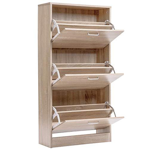 Armario de zapatos moderno para el hogar, organizador de almacenamiento para zapatos, color blanco (3 y 4 niveles) (3 niveles) (color madera)