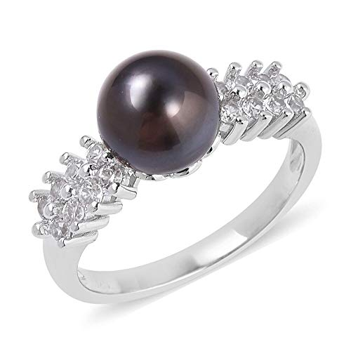 TJC Solitaire Tahitian Pearl Ring for Women 925 Sterling Silver White Topaz Size L, 6.255 Ct