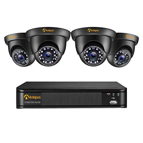 Anlapus 1080P Sistema de Vigilancia Exterior 8CH 2MP Videograbador con 4 Cámaras de Seguridad Impermeable, sin Disco Duro, Visión Nocturna, Alarma de Movimieneto