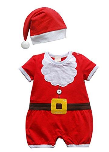 CHENGYANG Infant dei Ragazzi Ragazza Babbo Natale Pagliaccetto con Cappello Costume di Natale